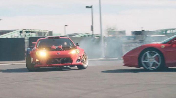 «Тойота» с мотором от Ferrari подрифтила вокруг суперкара 458 Italia